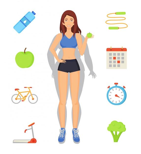 Gewichtsverlust und sport-diät-illustration Premium Vektoren