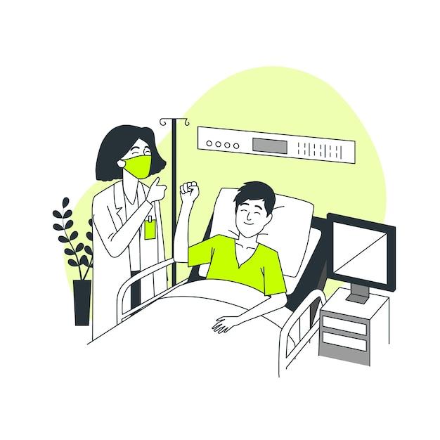 Gewinnen des kampfes gegen coronavirus-konzeptillustration Kostenlosen Vektoren