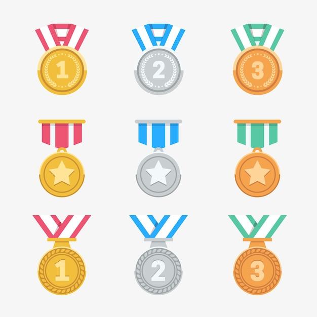 Gewinnen sie medaillen gesetzt. trendige flache award-symbole. Premium Vektoren