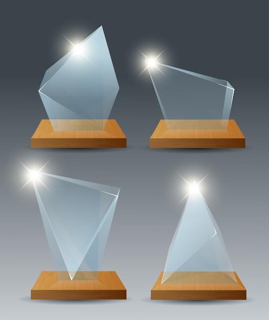 Gewinner glas trophäe ersten platz Premium Vektoren