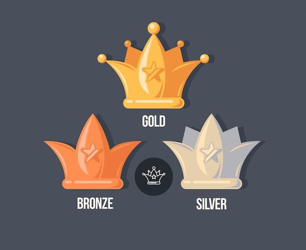 Gewinner kronen flache symbole. belohnungsillustration im cartoon-stil. Premium Vektoren