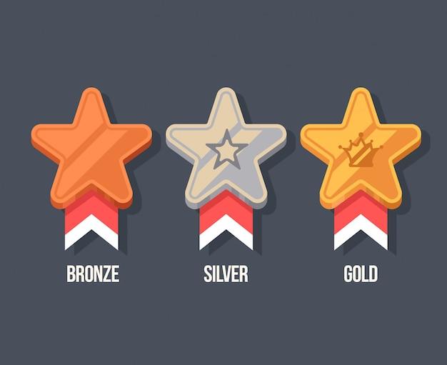 Gewinner medaillen flache symbole. belohnungsillustration im cartoon-stil. Premium Vektoren