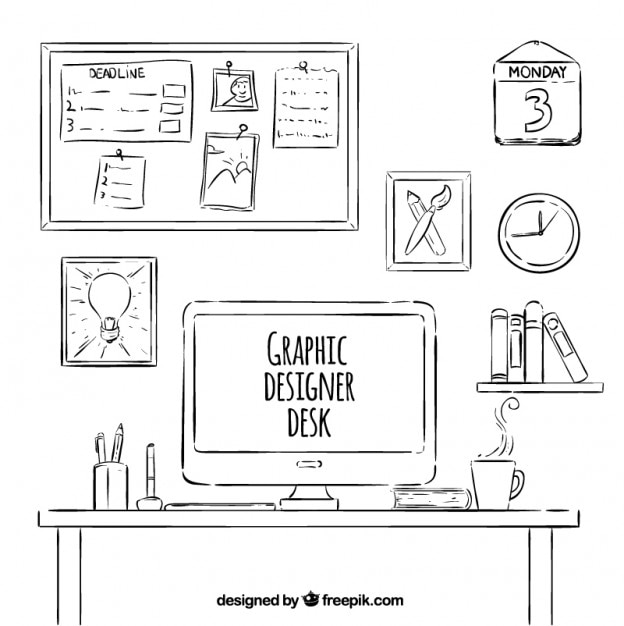 Schreibtisch gezeichnet  Gezeichnet Graphic Designer Schreibtisch Sammlung | Download der ...