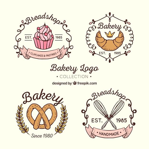 Gezeichnete art der bäckereilogosammlung in der hand Kostenlosen Vektoren
