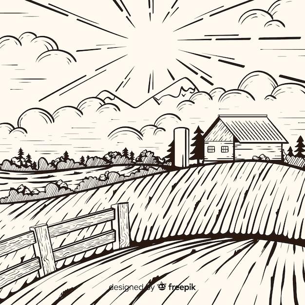 Gezeichnete art der bauernhoflandschaft in der hand Kostenlosen Vektoren