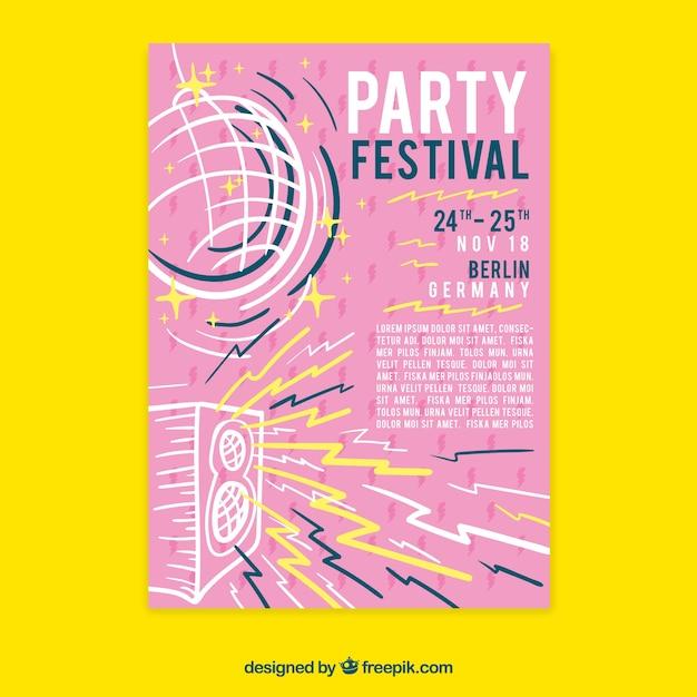 Gezeichnete art der festivalplakat templatewith hand Kostenlosen Vektoren