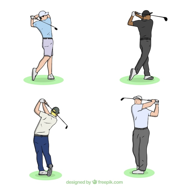 Gezeichnete art der golfschwingensammlung in der hand Premium Vektoren