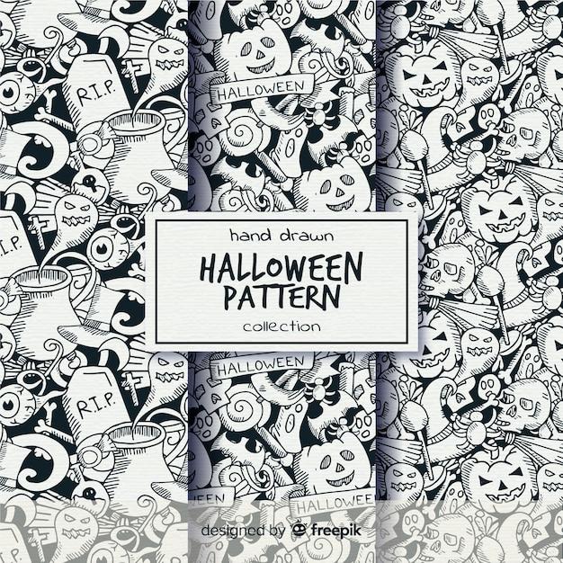 Gezeichnete art der halloween-mustersammlung in der hand in schwarzweiss Kostenlosen Vektoren