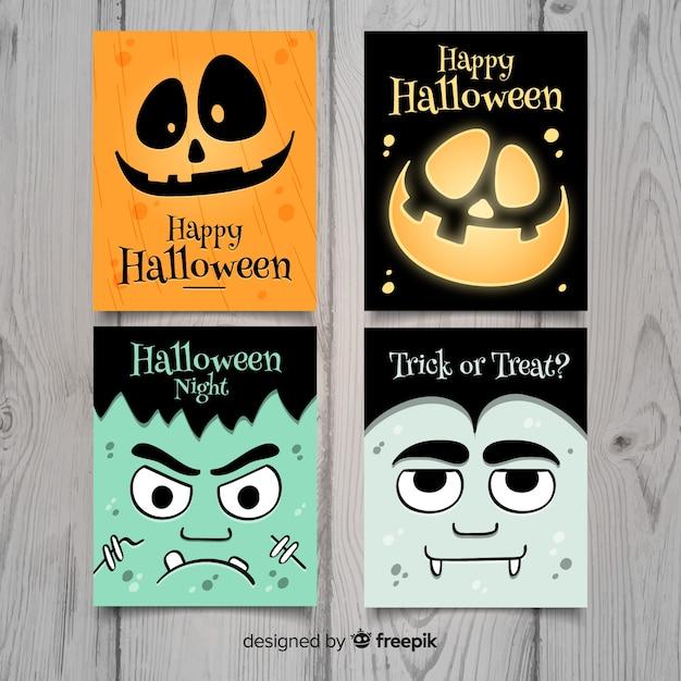 Gezeichnete art der halloween-sammlungskarte hand Kostenlosen Vektoren