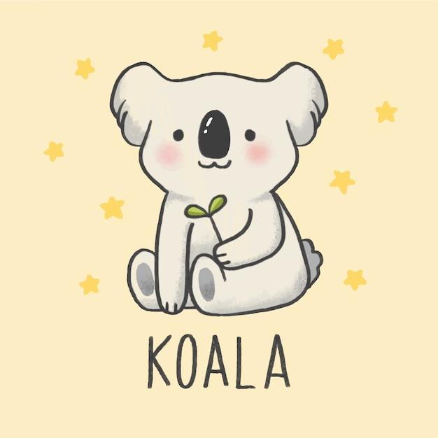 Gezeichnete art der netten koala-karikatur hand Premium Vektoren