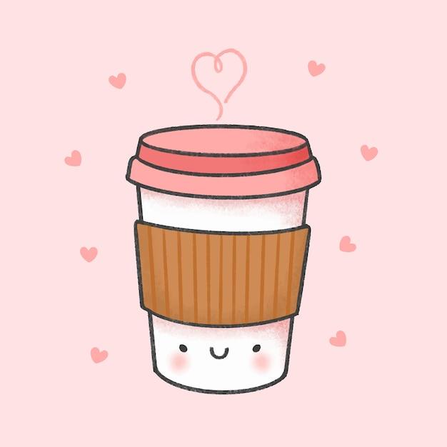 Gezeichnete art der tasse kaffee-karikatur hand Premium Vektoren