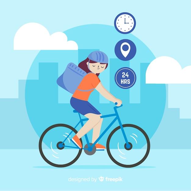 Gezeichnete art des fahrradlieferungskonzeptes in der hand Kostenlosen Vektoren