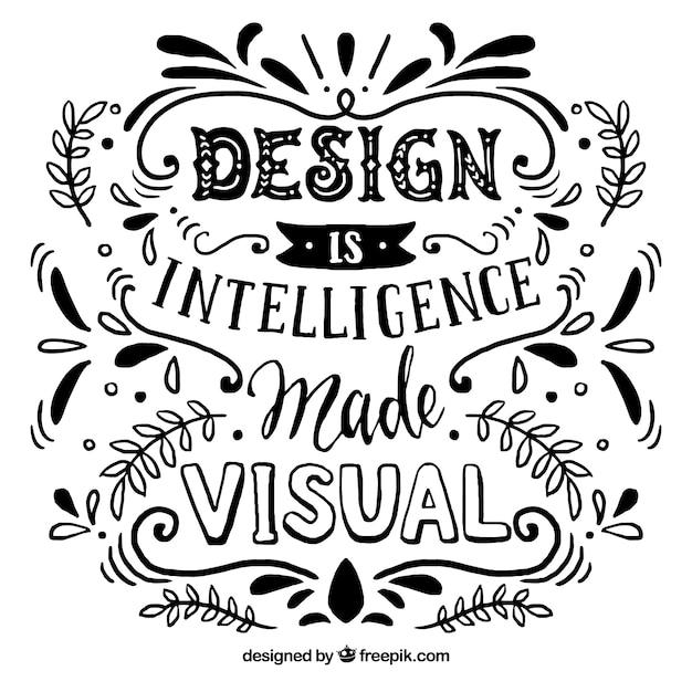 Gezeichnete art des grafikdesign-zitats in der hand Kostenlosen Vektoren