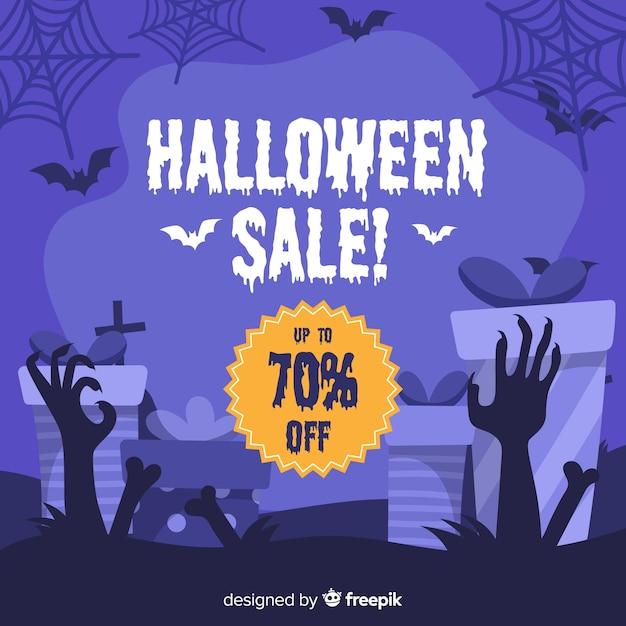 Gezeichnete art des halloween-verkaufshintergrundes hand Kostenlosen Vektoren