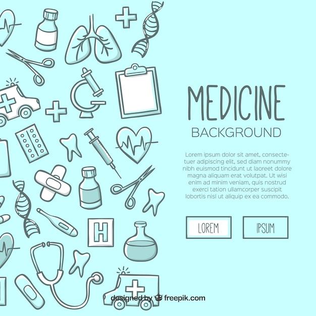 Gezeichnete art des medizinhintergrundes in der hand Kostenlosen Vektoren