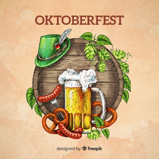 Gezeichnete art des oktoberfest-konzepthintergrundes hand Kostenlosen Vektoren