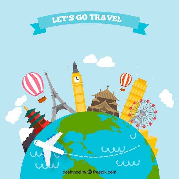 Gezeichnete art des reisehintergrundes in der hand Kostenlosen Vektoren