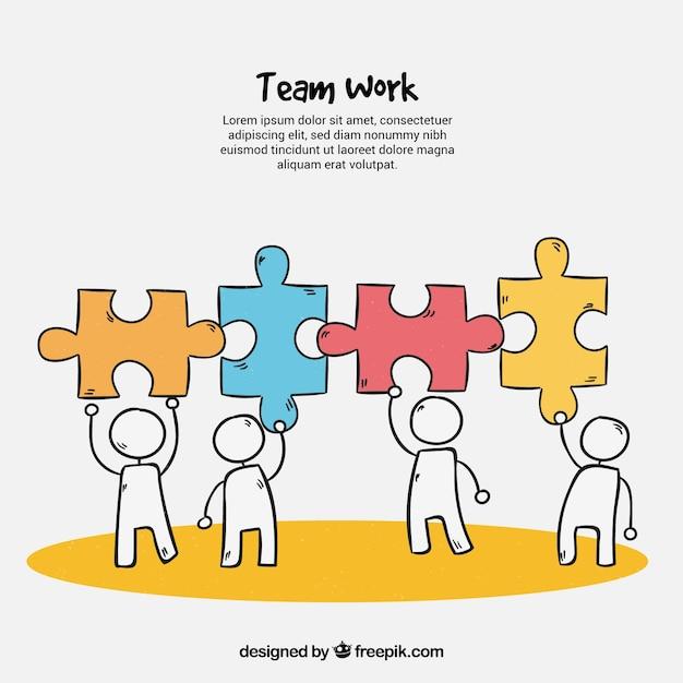 Gezeichnete art des teamarbeitshintergrundes in der hand Kostenlosen Vektoren