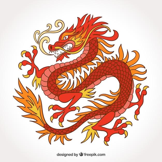 Gezeichnete art des traditionellen chinesen drachen in der hand Kostenlosen Vektoren