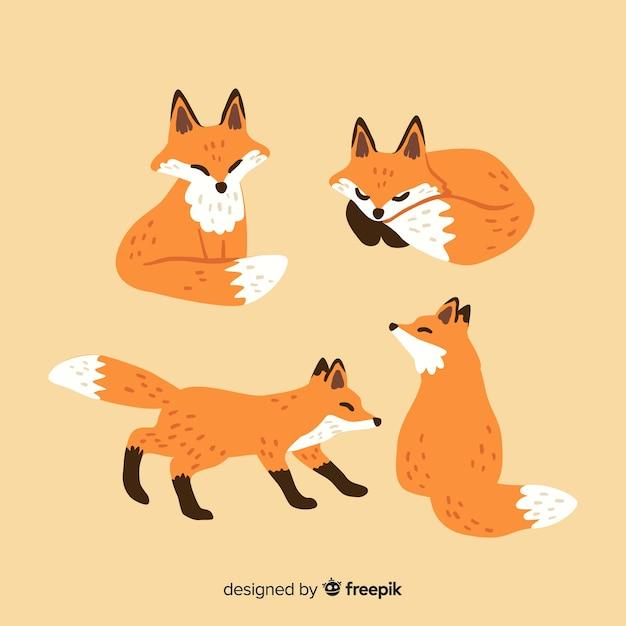 Gezeichnete art fox-sammlung hand Kostenlosen Vektoren