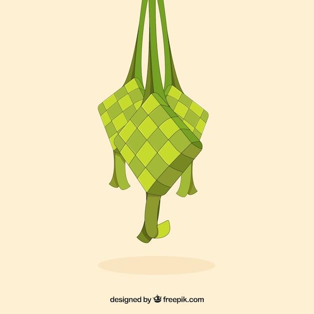 Gezeichnete art ketupat-hintergrundes in der hand Kostenlosen Vektoren