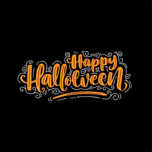 Gezeichnete beschriftung des glücklichen halloween-hand Premium Vektoren