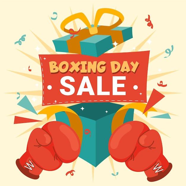 Gezeichnete boxing day event sale geschenke Kostenlosen Vektoren