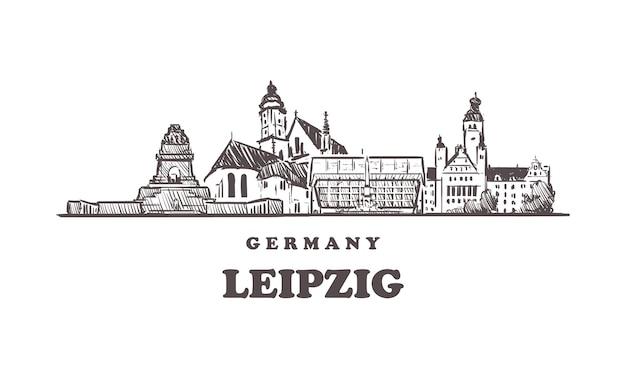 Gezeichnete gebäude in leipzig, deutschland Premium Vektoren