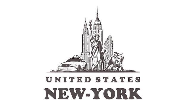 Gezeichnete gebäude in new york, usa Premium Vektoren