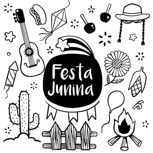 Gezeichnete gekritzelart festa junina-festivals hand Premium Vektoren