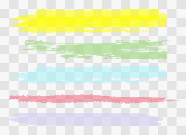 Gezeichnete gelbe markierungsstreifen. verschiedene farbflecken. Premium Vektoren