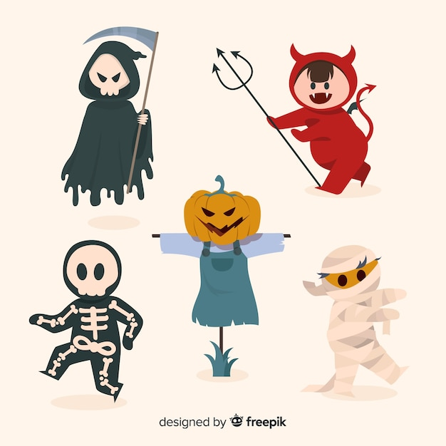 Gezeichnete halloween-kostüme der teufelcharaktere hand Kostenlosen Vektoren