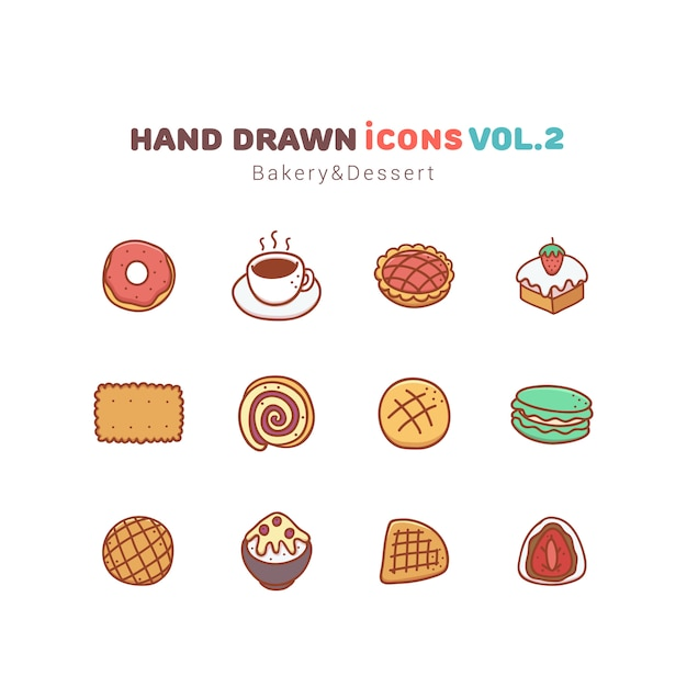 Gezeichnete ikonen der bäckerei und des nachtischs hand Premium Vektoren
