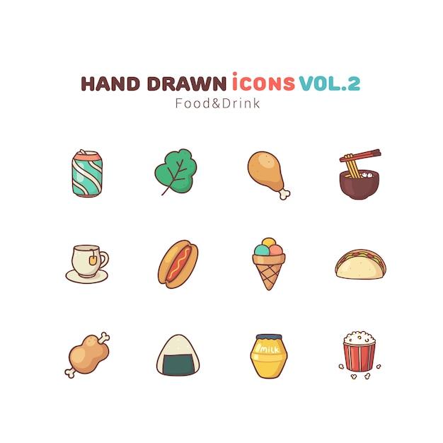 Gezeichnete ikonen des lebensmittels und des getränks hand Premium Vektoren