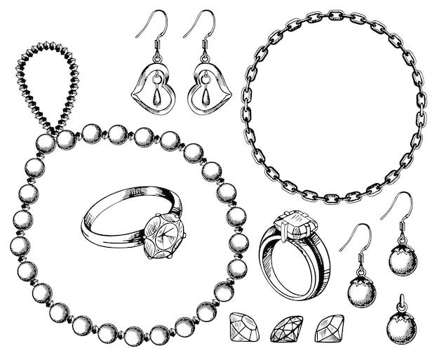 Gezeichnete illustration der juwelen gesetzte hand Premium Vektoren