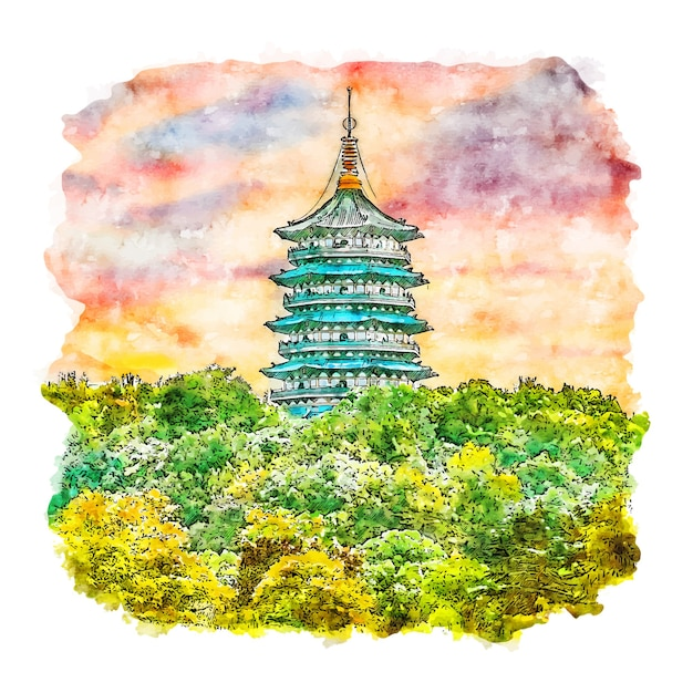 Gezeichnete illustration der naturpagode china-aquarellskizze Premium Vektoren