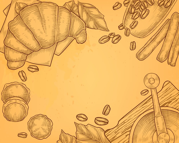 Gezeichnete illustration der weinlese hand der kaffeemühle mit hörnchen, frühstückskonzept. Kostenlosen Vektoren