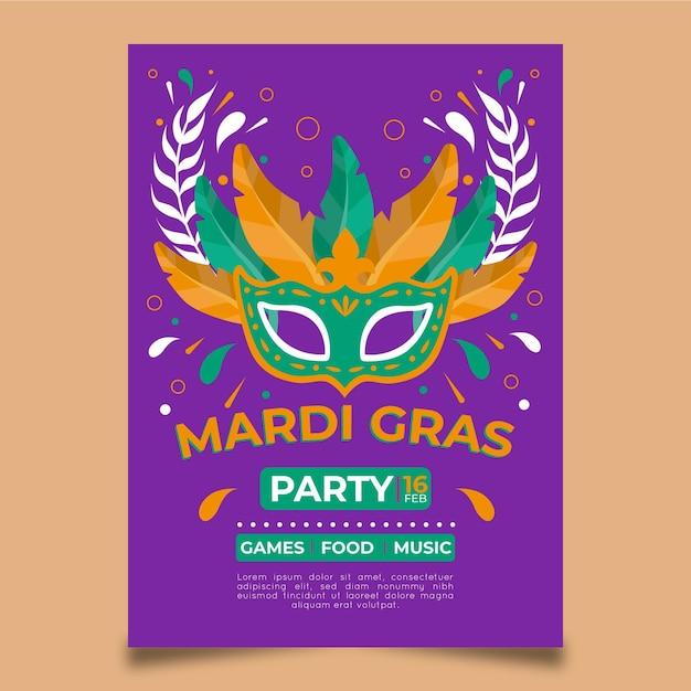 Gezeichnete karneval flyer vorlage Kostenlosen Vektoren