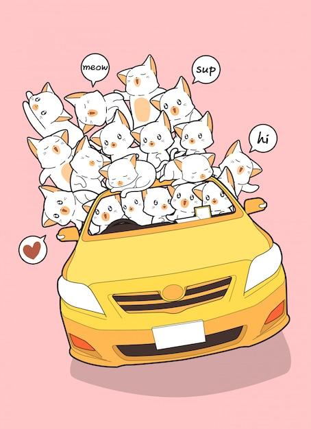 Gezeichnete kawaii katzen im gelben auto. Premium Vektoren
