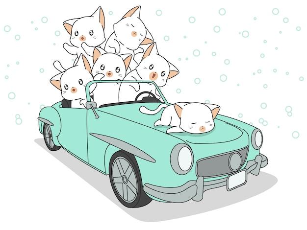 Gezeichnete kawaii katzen im grünen auto. Premium Vektoren