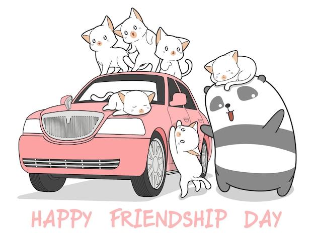 Gezeichnete kawaii katzen und panda mit rosa auto. Premium Vektoren