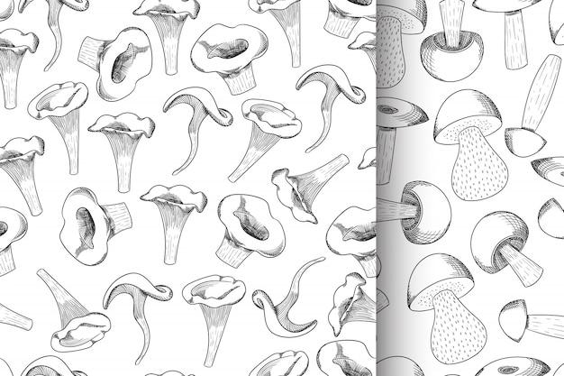 Gezeichnete skizze des musters des pilzes nahtlose gesetzte hand Premium Vektoren