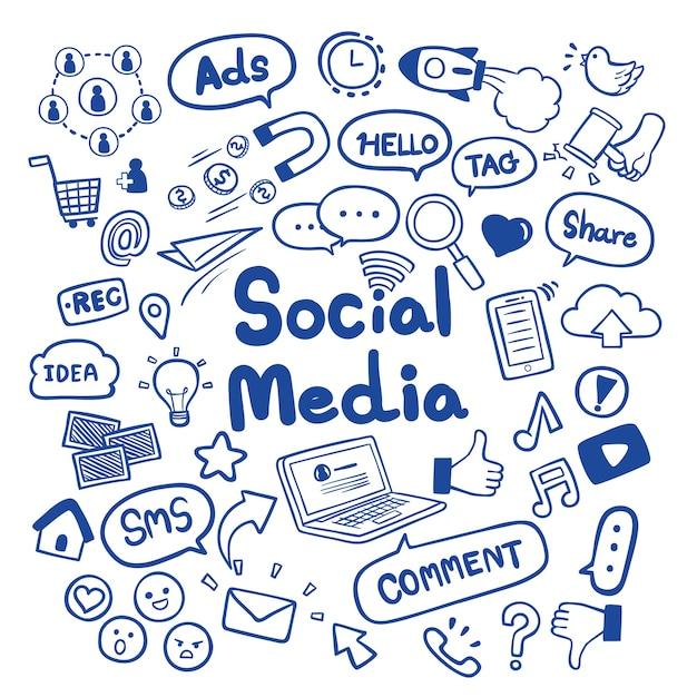 Gezeichnete social media hand kritzelt hintergrundvektor Premium Vektoren