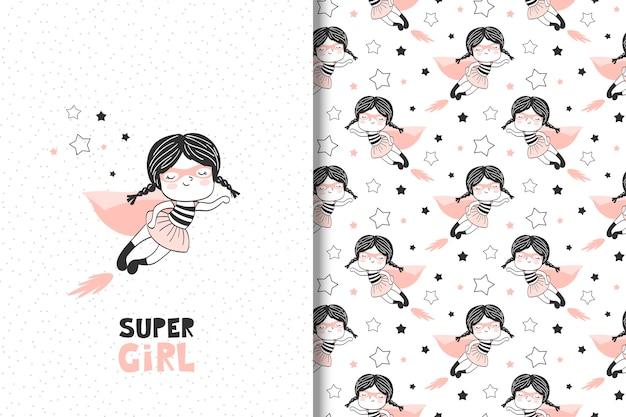 Gezeichnete supermädchenkarte der karikatur hand und nahtloses muster Premium Vektoren