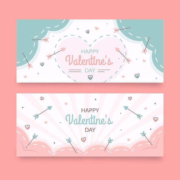 Gezeichnete valentinstag banner sammlung Kostenlosen Vektoren