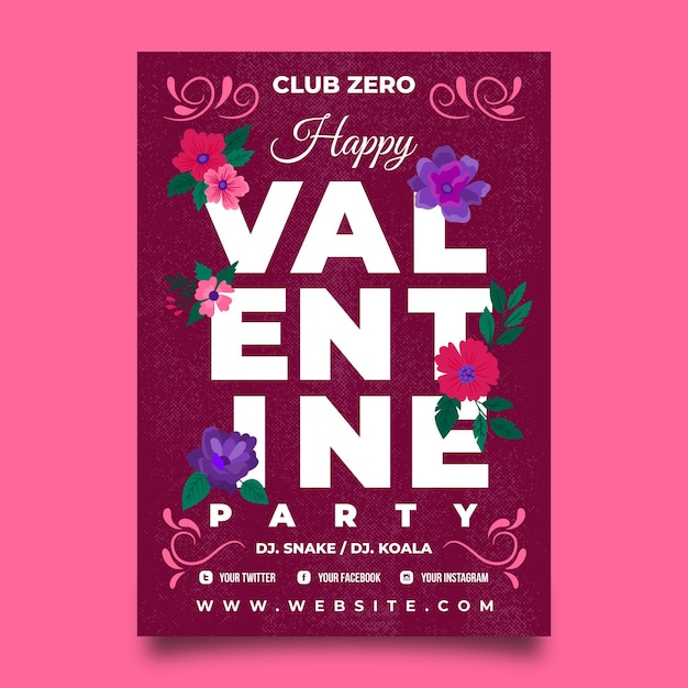 Gezeichnete valentinstag party flyer vorlage Kostenlosen Vektoren