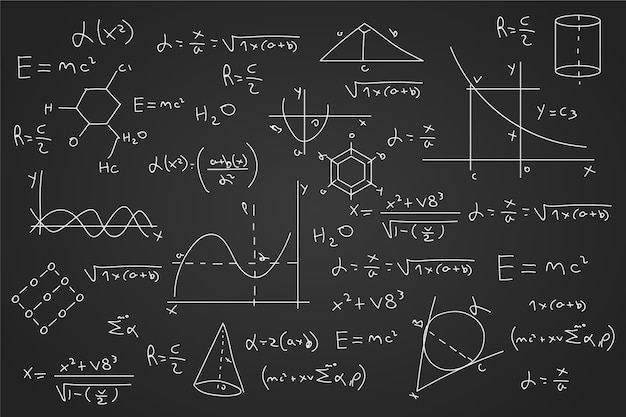 Gezeichnete wissenschaftliche formeln an die tafel Kostenlosen Vektoren