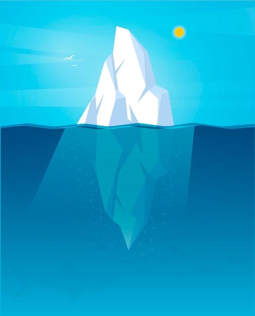 Gezeichneter eisberg bei tageslicht Kostenlosen Vektoren