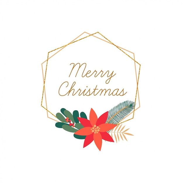 Gezeichneter eleganter rahmen der frohen weihnachten hand lokalisiert Premium Vektoren