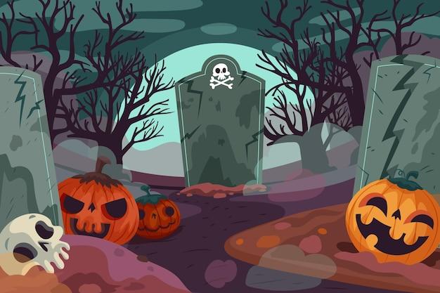 Gezeichneter halloween-hintergrund mit unheimlichem friedhof Kostenlosen Vektoren